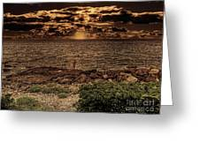 Fisherman On The Rocks Greeting Card