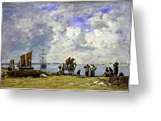 Fishermens Wives At The Seaside - Digital Remastered Edition Greeting Card