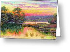 Fishing In Evening Glow Greeting Card