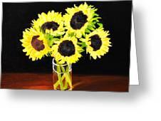 Five Sunflowers Greeting Card
