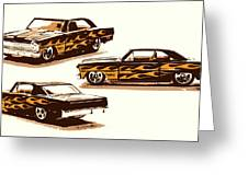 Flamin Chevrolet 66 Nova Greeting Card
