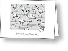 Flamingo Among Fakes Greeting Card
