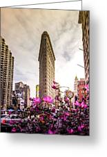 Flatiron And Flowers Greeting Card