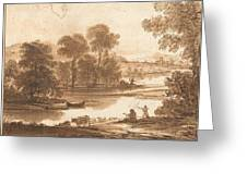 Floodplain With Watering Place  C  Greeting Card