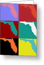 Florida Pop Art Map Greeting Card