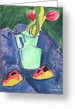 Flowers In A Green Vase On Purple Cloth Greeting Card