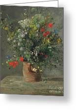Flowers In A Vase, Circa 1866 Greeting Card