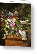 Flowers In A Vase With Two Doves Greeting Card