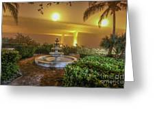 Foggy Fountain And Bridge Greeting Card by Tom Claud