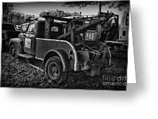 Ford F4 Tow The Truck Business End Black And White Greeting Card