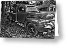 Ford F4 Tow The Truck Hook And Book Black And White Greeting Card
