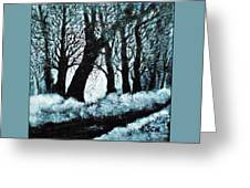 Forest Misty Dawn In Late Fall Greeting Card