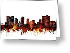 Fort Worth Skyline Brown Greeting Card