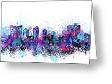 Fort Worth Skyline Color Splatter Greeting Card