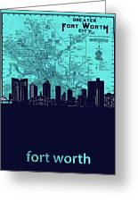 Fort Worth Skyline Map Blue 2 Greeting Card