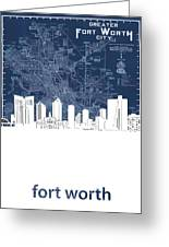 Fort Worth Skyline Map Blue Greeting Card