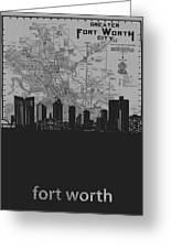 Fort Worth Skyline Map Grey Greeting Card
