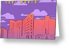 Fort Worth Skyline Panorama Purple Greeting Card