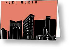 Fort Worth Skyline Panorama Red Greeting Card