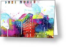 Fort Worth Skyline Panorama Watercolor 2 Greeting Card