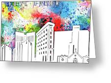 Fort Worth Skyline Panorama Watercolor Greeting Card