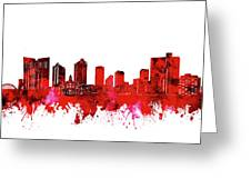 Fort Worth Skyline Red Greeting Card