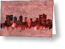 Fort Worth Skyline Vintage Red Greeting Card