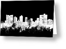Fort Worth Skyline Watercolor Black And White 2 Greeting Card