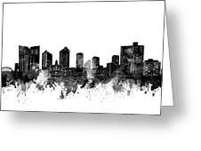 Fort Worth Skyline Watercolor Black And White Greeting Card