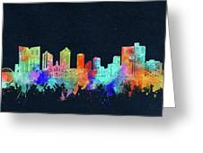 Fort Worth Skyline Watercolor Black Greeting Card