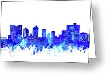 Fort Worth Skyline Watercolor Blue Greeting Card