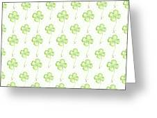 Four Leaf Clover Lucky Charm Pattern Greeting Card