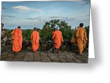 Four Monks And A Phone. Greeting Card