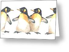Four Penguins Greeting Card