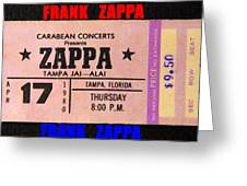 Frank Zappa 1980 Concert Ticket Greeting Card
