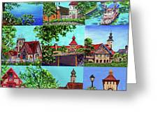 Frankenmuth Downtown Michigan Painting Collage II Greeting Card
