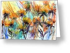 Frozen Chrysanthemums Greeting Card