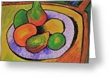 Fruit Bowl After Cezanne Greeting Card by Howard Bagley