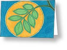 Full Moon, Leaves Greeting Card