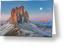 Full Moon Morning On Tre Cime Di Lavaredo Greeting Card by Dmytro Korol