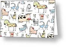Funny Cartoon Village Domestic Animals Greeting Card