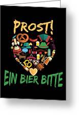 Funny Oktoberfest Prost Ein Bier Bitte Germany Greeting Card