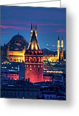 Galata Tower And Suleymaniye Mosque Greeting Card
