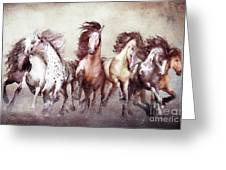 Galloping Horses Magnificent Seven Greeting Card