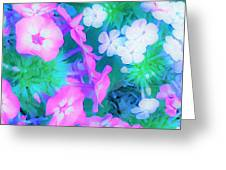 Garden Flowers In Pink, Green And Blue Greeting Card