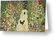 Garden With Chickens, 1916 Greeting Card