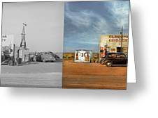 Gas Station - In The Middle Of Nowhere 1940 - Side By Side Greeting Card