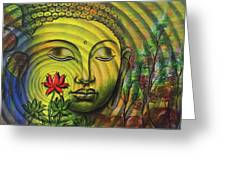 Gautama Buddha Ripple Effect Portrait Greeting Card