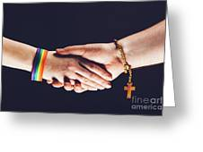 Gay And Christian Person Shaking Hands Greeting Card
