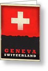 Geneva Switzerland World City Flag Skyline Greeting Card